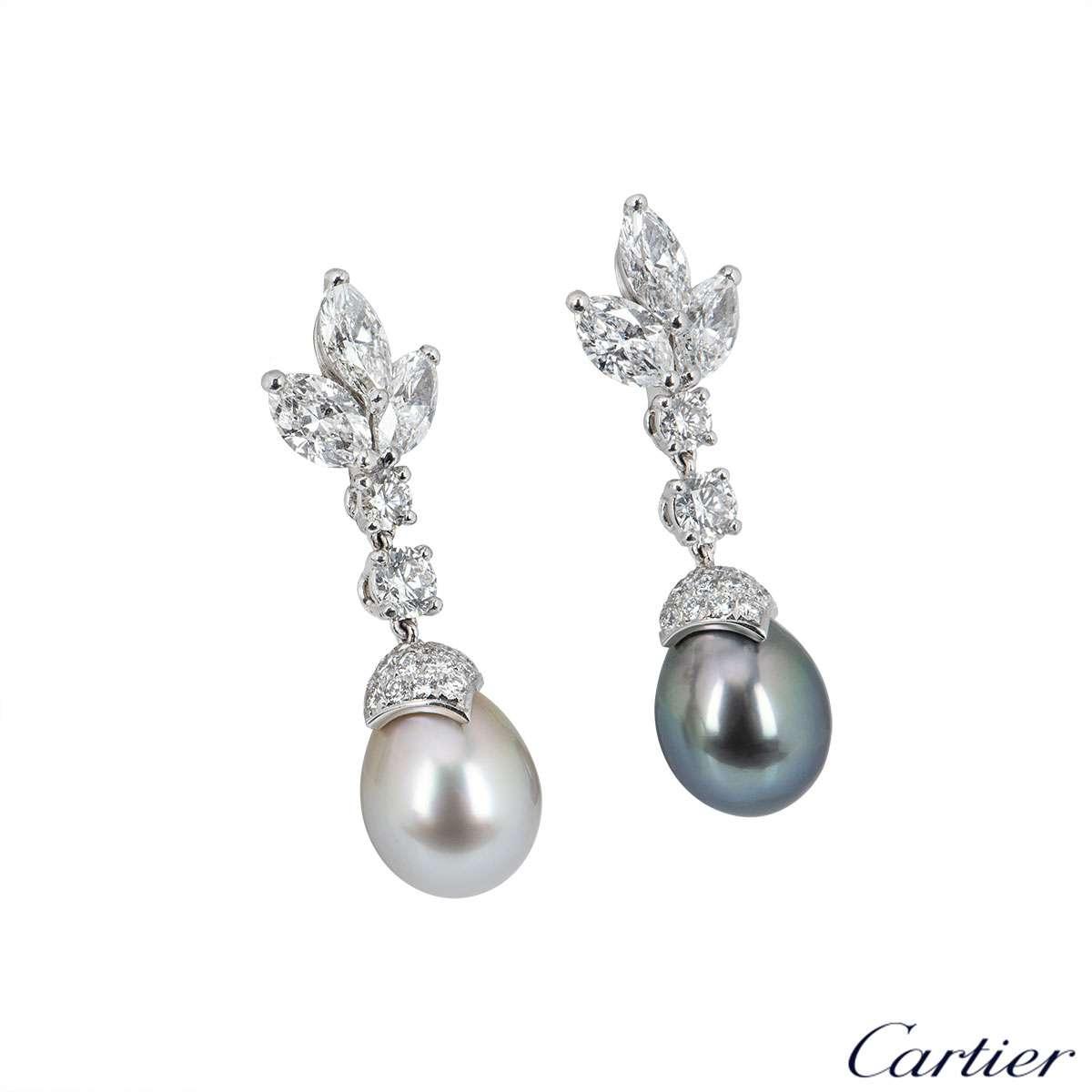 Cartier Platinum Cartier de Lune Diamond & Pearl Earrings HP800116